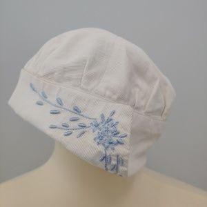 ANTIQUE Baby Hat, Cap, White, Blue Embroidery